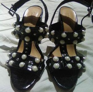 Schutz Black High heel sandals with pearls size 8